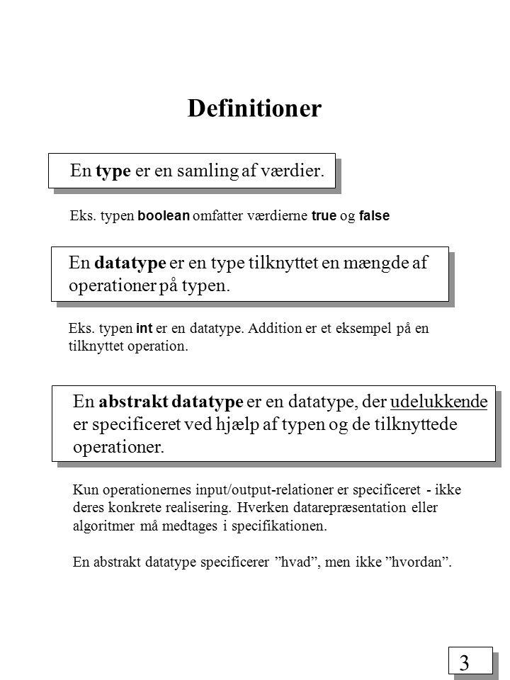 2 * Definitioner: abstrakt datatype, datastruktur *Elementære datastrukturer og abstrakte datatyper: arrays, hægtede lister, stakke, køer *Træer: terminologi, egenskaber, repræsentation, gennemgang Plan