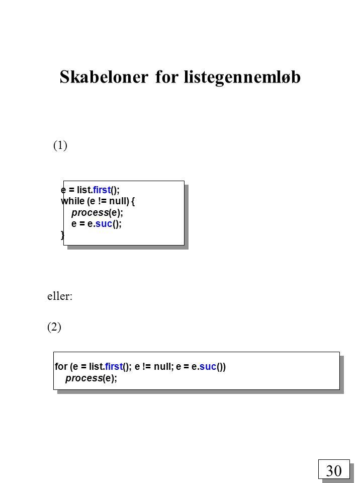 29 Eksempel på anvendelse (oprettelse og udskrivning af en liste af tal) import simset.*; import IO.*; class Number extends Link { int value; Number(int v) { value = v; } } Head list = new Head(); for (int i = 1; i <= 10; i++) new Number(i).into(list); Number n = (Number) list.first(); while (n != null) { IO.println(n.value); n = (Number) n.suc(); } while (!list.empty()) { n = (Number) list.first(); IO.println(n.value); n.out(); }