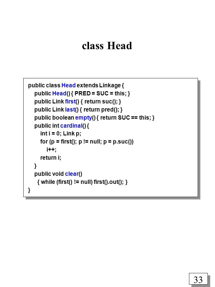 32 Class Linkage (fælles overklasse for Head og Link) public class Linkage { public Link pred() { return PRED instanceof Link .