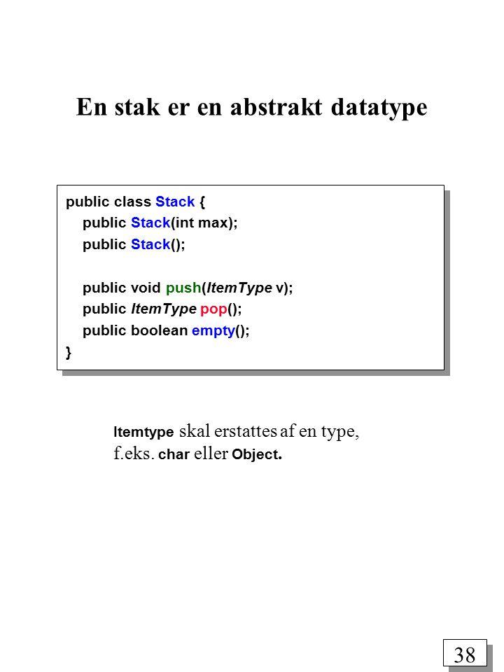37 En stak (LIFO = LastInFirstOut) En stak er en sekvens af dataelementer af samme type, som muliggør følgende to operationer: push(v): Læg dataelementet v øverst på stakken (dvs.