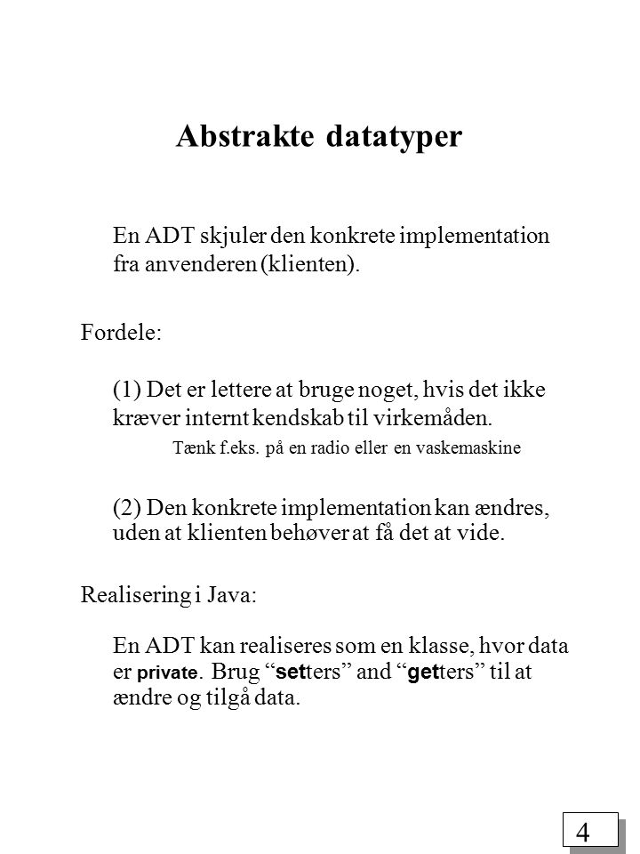 44 Et Java-program til evaluering af postfix-udtryk public class Program { static char get() throws IOException { return (char) System.in.read(); } public static void main(String[] args) throws IOException { char c; Stack acc = new Stack(50); while ((c = get()) != (char) (-1)) { while (c == ) c = get(); int x = 0; if (c == + ) x = acc.pop() + acc.pop(); if (c == * ) x = acc.pop() * acc.pop(); while (c >= 0 && c <= 9 ) { x = 10*x + (c- 0 ); c = get(); } acc.push(x); } System.out.println(acc.pop()); }