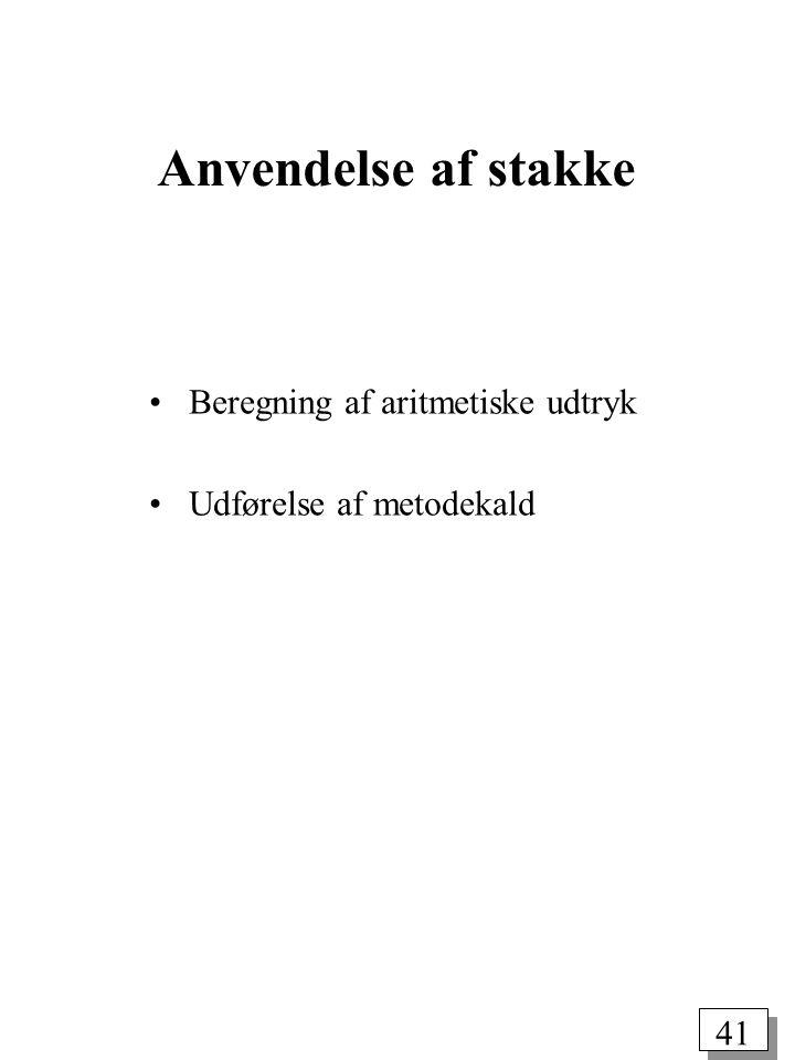 40 Repræsentation af stak ved hjælp af hægtet liste class Node { char key; Node next; } public class Stack { private Node head, z; public Stack() { head = new Node(); z = new Node(); head.next = z; z.next = head; } public Stack(int max) { this(); } public void push(char v) { Node t = new Node(); t.key = v; t.next = head.next; head.next = t; } public char pop() { Node t = head.next; head.next = t.next; return t.key; } public boolean empty() { return head.next == z; } }