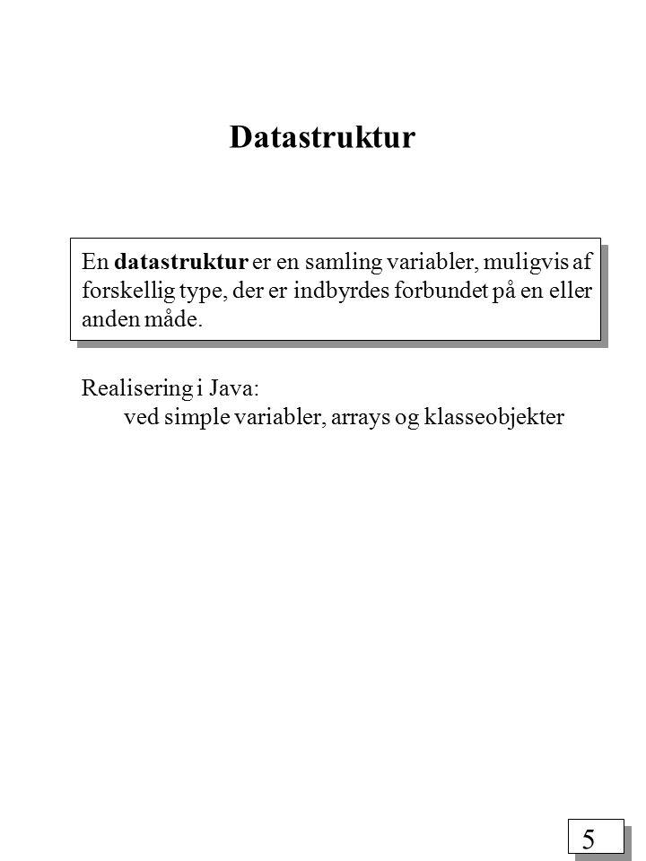 4 Abstrakte datatyper En ADT skjuler den konkrete implementation fra anvenderen (klienten).
