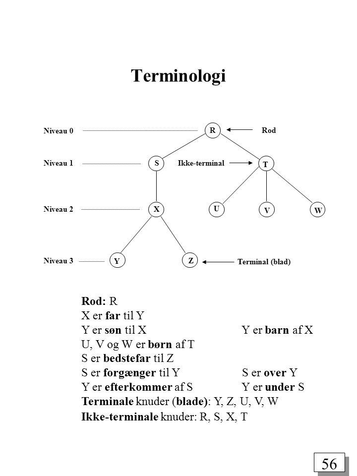 55 Træer Et træ er en samling af knuder og kanter, (V, E), som opfylder visse krav: En knude, v, er et simpelt dataobjekt, der kan have et navn og en tilknyttet information.
