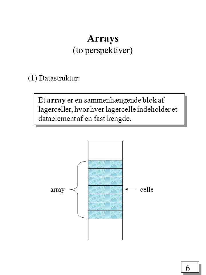 5 En datastruktur er en samling variabler, muligvis af forskellig type, der er indbyrdes forbundet på en eller anden måde.