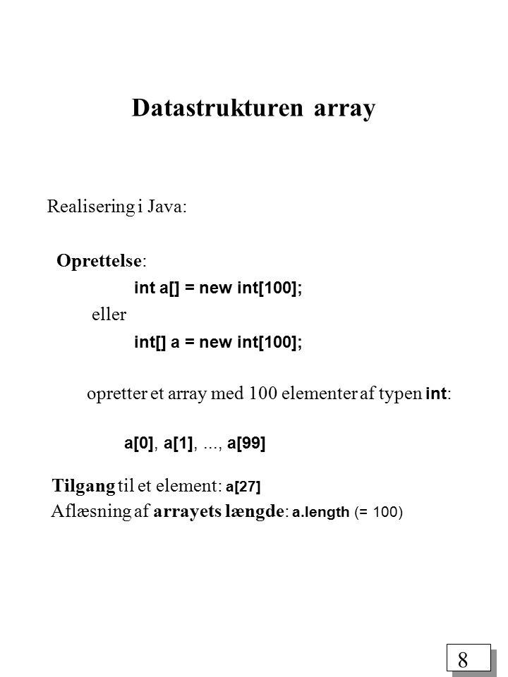 7 (2) Abstrakt datatype: Et array er en samling af dataelementer af samme type, hvor hvert dataelement kan identificeres med et heltal, kaldet indeks.
