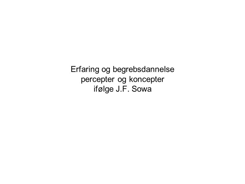 Erfaring og begrebsdannelse percepter og koncepter ifølge J.F. Sowa