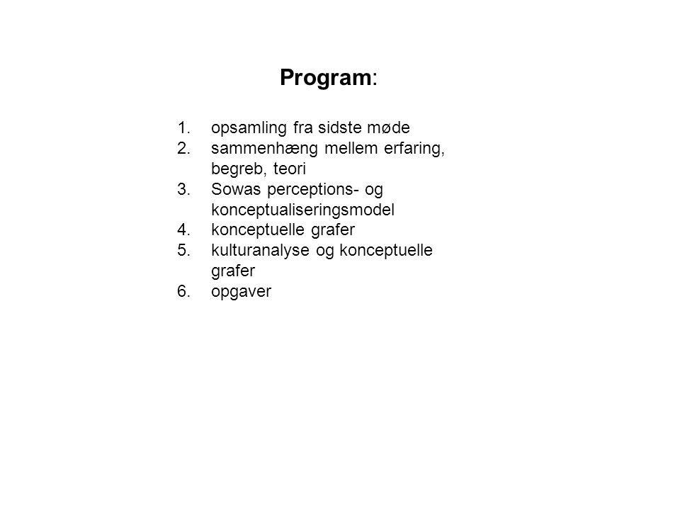 Program: 1.opsamling fra sidste møde 2.sammenhæng mellem erfaring, begreb, teori 3.Sowas perceptions- og konceptualiseringsmodel 4.konceptuelle grafer 5.kulturanalyse og konceptuelle grafer 6.opgaver