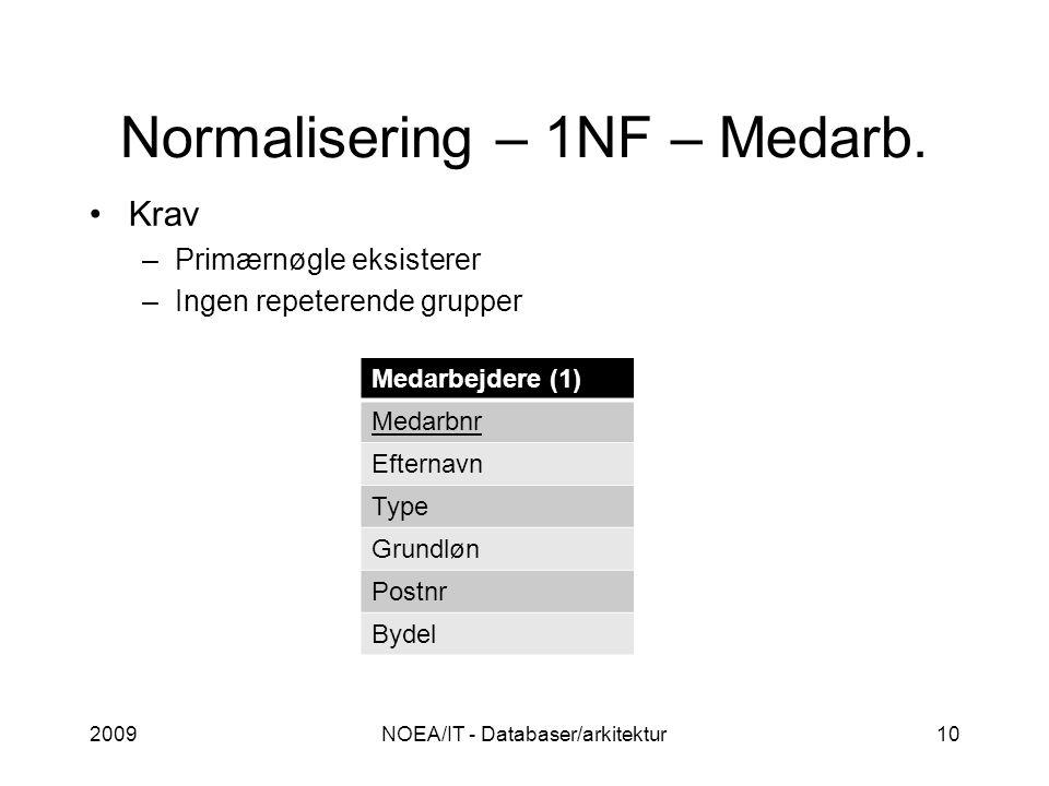 Normalisering – 1NF – Medarb.