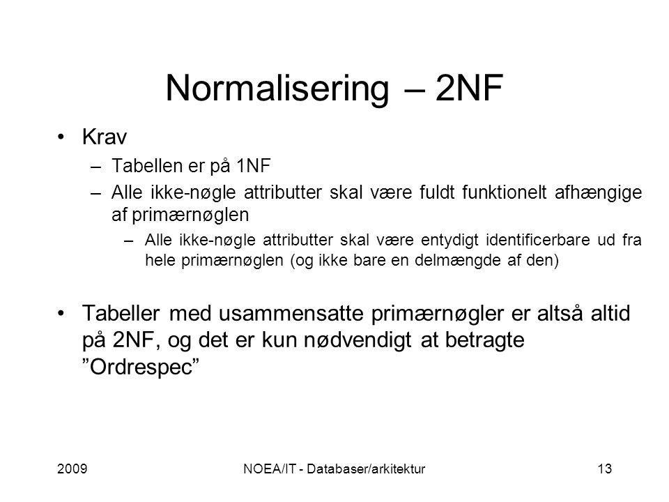 Normalisering – 2NF 2009NOEA/IT - Databaser/arkitektur13 Krav –Tabellen er på 1NF –Alle ikke-nøgle attributter skal være fuldt funktionelt afhængige af primærnøglen –Alle ikke-nøgle attributter skal være entydigt identificerbare ud fra hele primærnøglen (og ikke bare en delmængde af den) Tabeller med usammensatte primærnøgler er altså altid på 2NF, og det er kun nødvendigt at betragte Ordrespec