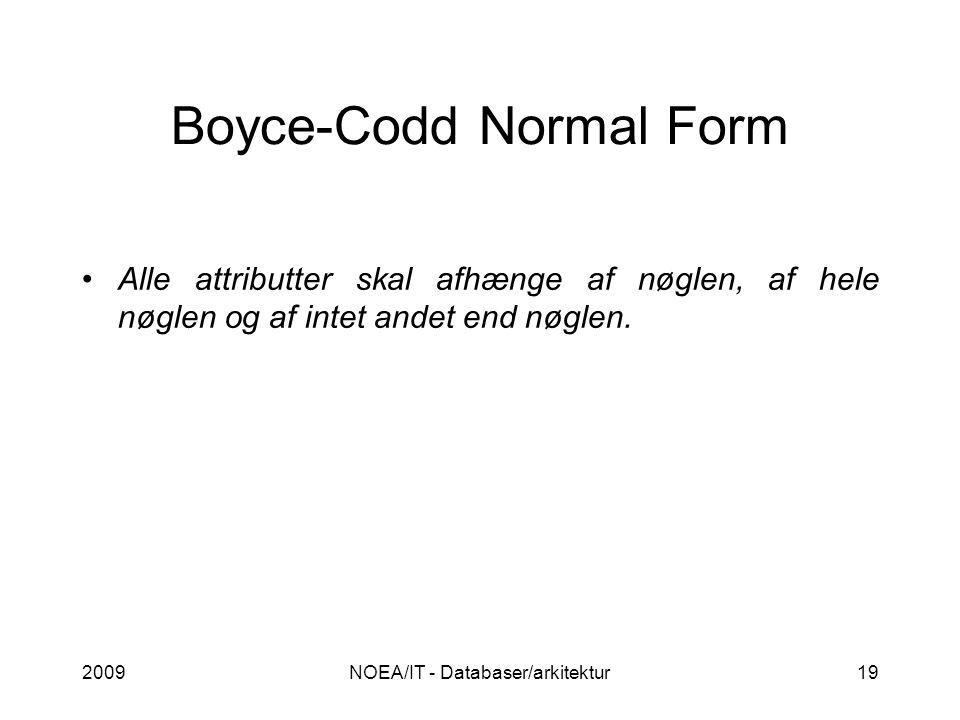 2009NOEA/IT - Databaser/arkitektur19 Boyce-Codd Normal Form Alle attributter skal afhænge af nøglen, af hele nøglen og af intet andet end nøglen.