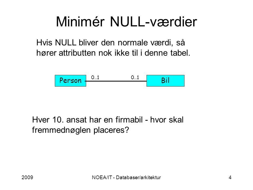 2009NOEA/IT - Databaser/arkitektur4 Minimér NULL-værdier Hver 10.
