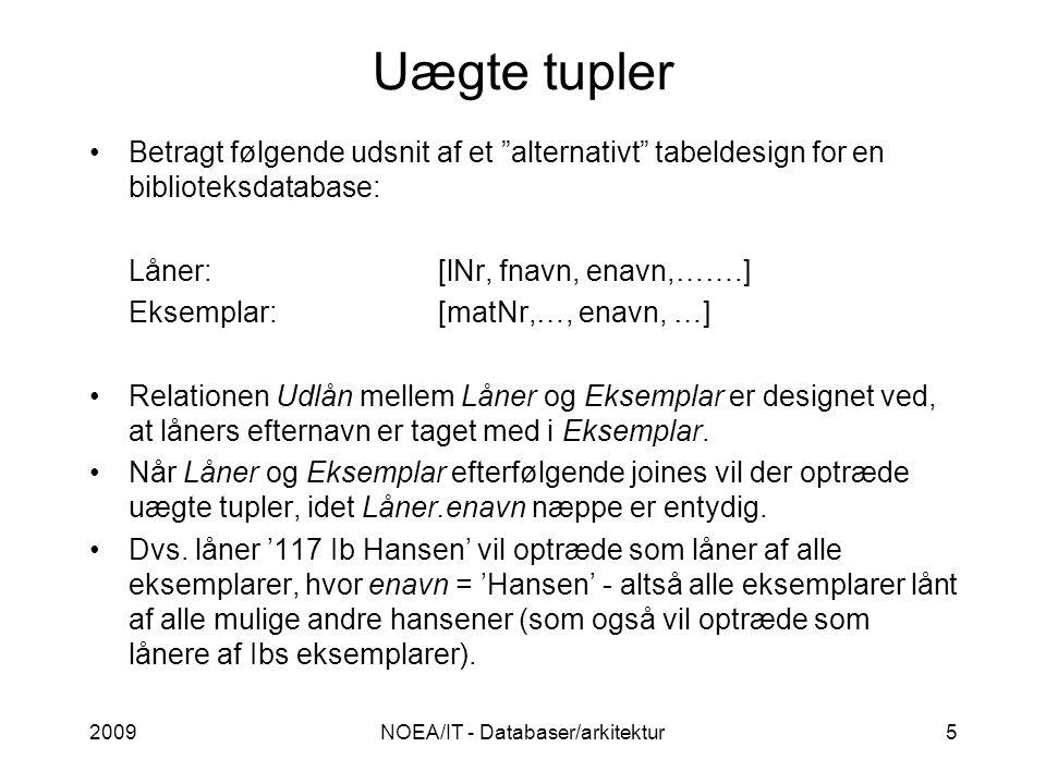2009NOEA/IT - Databaser/arkitektur5 Uægte tupler Betragt følgende udsnit af et alternativt tabeldesign for en biblioteksdatabase: Låner:[lNr, fnavn, enavn,…….] Eksemplar:[matNr,…, enavn, …] Relationen Udlån mellem Låner og Eksemplar er designet ved, at låners efternavn er taget med i Eksemplar.