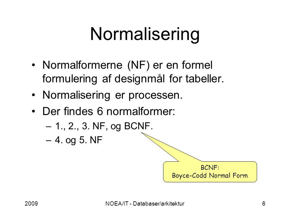 2009NOEA/IT - Databaser/arkitektur6 Normalisering Normalformerne (NF) er en formel formulering af designmål for tabeller.