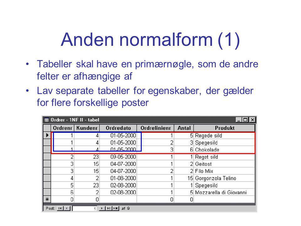 Anden normalform (1) Tabeller skal have en primærnøgle, som de andre felter er afhængige af Lav separate tabeller for egenskaber, der gælder for flere forskellige poster