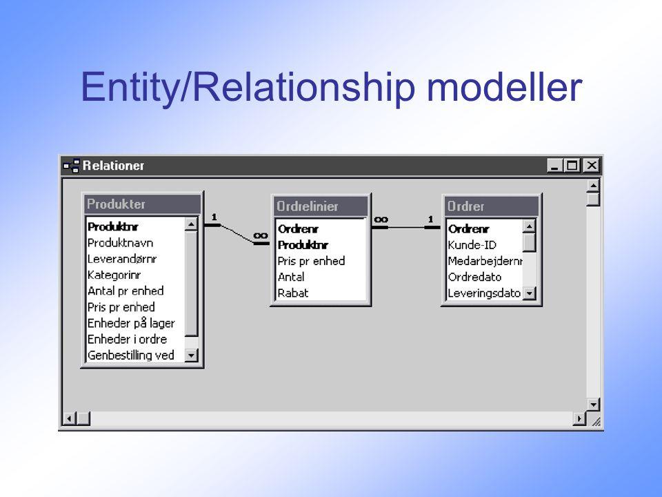 Entity/Relationship modeller