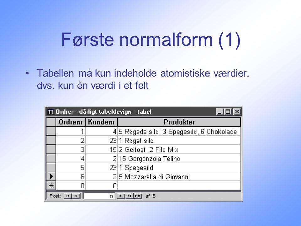 Første normalform (1) Tabellen må kun indeholde atomistiske værdier, dvs. kun én værdi i et felt