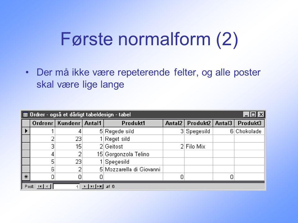 Første normalform (2) Der må ikke være repeterende felter, og alle poster skal være lige lange