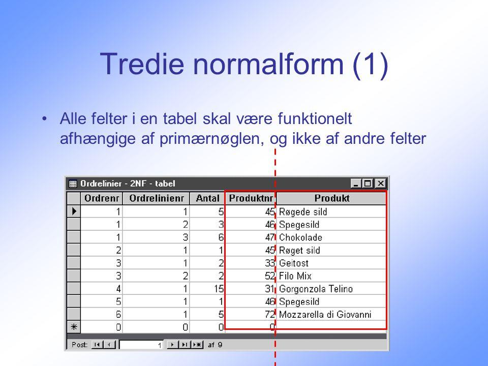 Tredie normalform (1) Alle felter i en tabel skal være funktionelt afhængige af primærnøglen, og ikke af andre felter