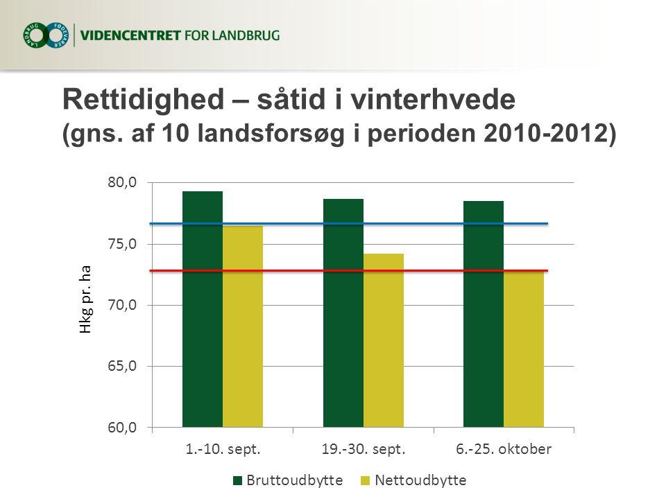 Rettidighed – såtid i vinterhvede (gns. af 10 landsforsøg i perioden 2010-2012)