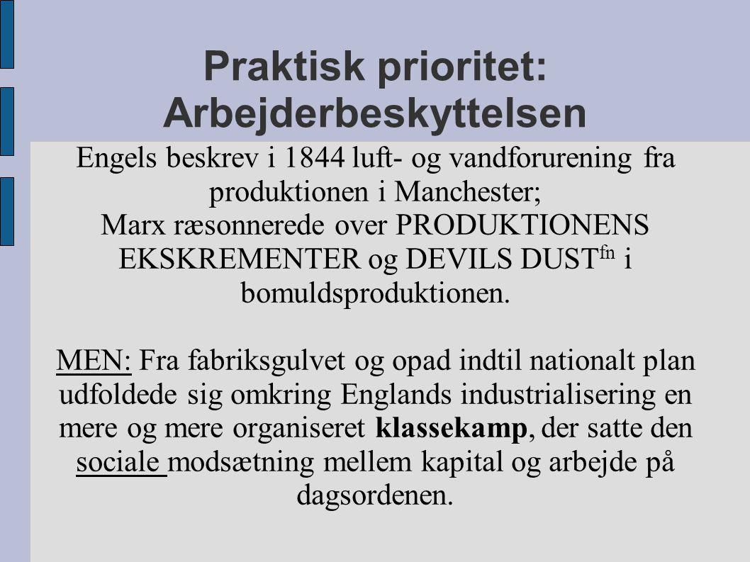 Praktisk prioritet: Arbejderbeskyttelsen Engels beskrev i 1844 luft- og vandforurening fra produktionen i Manchester; Marx ræsonnerede over PRODUKTIONENS EKSKREMENTER og DEVILS DUST fn i bomuldsproduktionen.