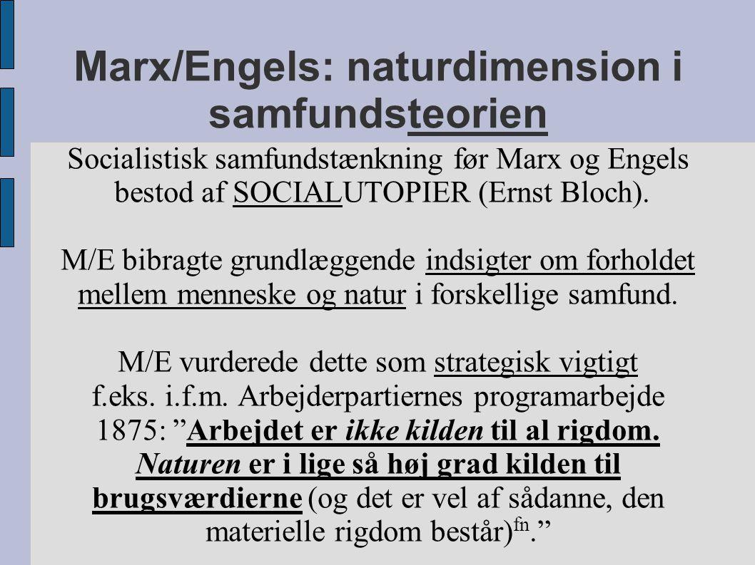 Marx/Engels: naturdimension i samfundsteorien Socialistisk samfundstænkning før Marx og Engels bestod af SOCIALUTOPIER (Ernst Bloch).