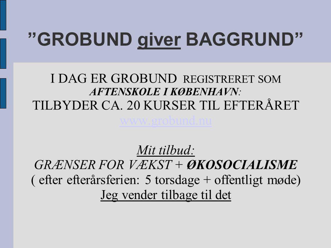 GROBUND giver BAGGRUND I DAG ER GROBUND REGISTRERET SOM AFTENSKOLE I KØBENHAVN: TILBYDER CA.