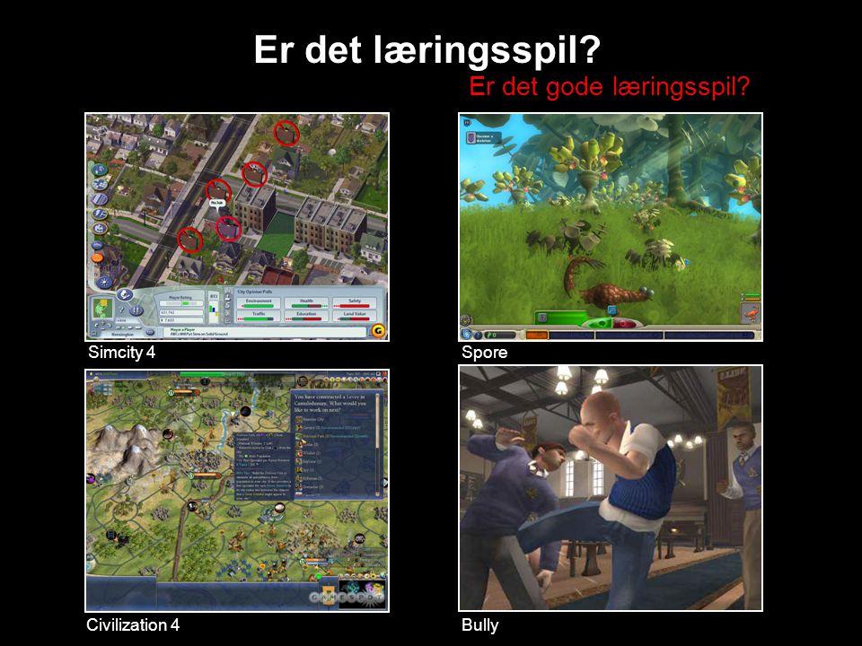 Simcity 4 Civilization 4 Spore Er det læringsspil Bully Er det gode læringsspil