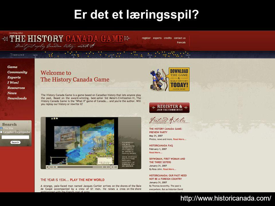http://www.historicanada.com/ Er det et læringsspil