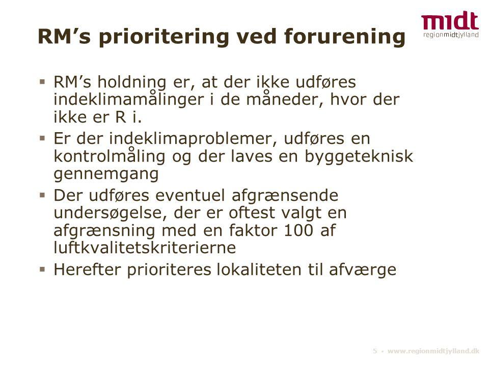 5 ▪ www.regionmidtjylland.dk RM's prioritering ved forurening  RM's holdning er, at der ikke udføres indeklimamålinger i de måneder, hvor der ikke er R i.