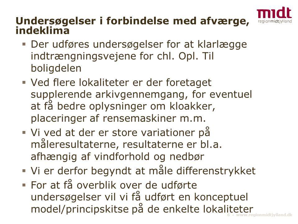 6 ▪ www.regionmidtjylland.dk Undersøgelser i forbindelse med afværge, indeklima  Der udføres undersøgelser for at klarlægge indtrængningsvejene for chl.