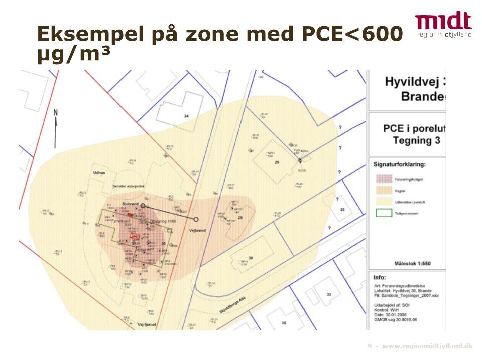 9 ▪ www.regionmidtjylland.dk Eksempel på zone med PCE<600 µg/m³