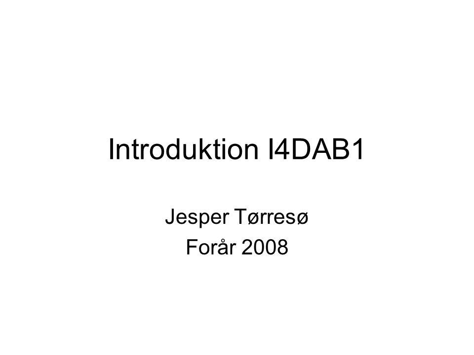 Introduktion I4DAB1 Jesper Tørresø Forår 2008