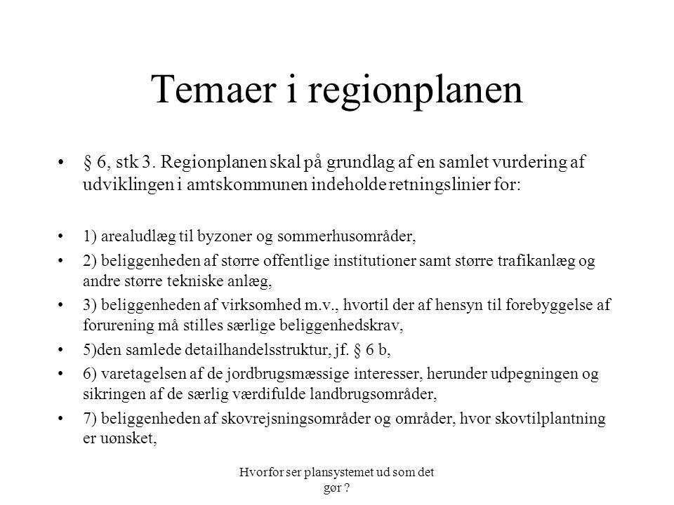 Hvorfor ser plansystemet ud som det gør . Temaer i regionplanen § 6, stk 3.