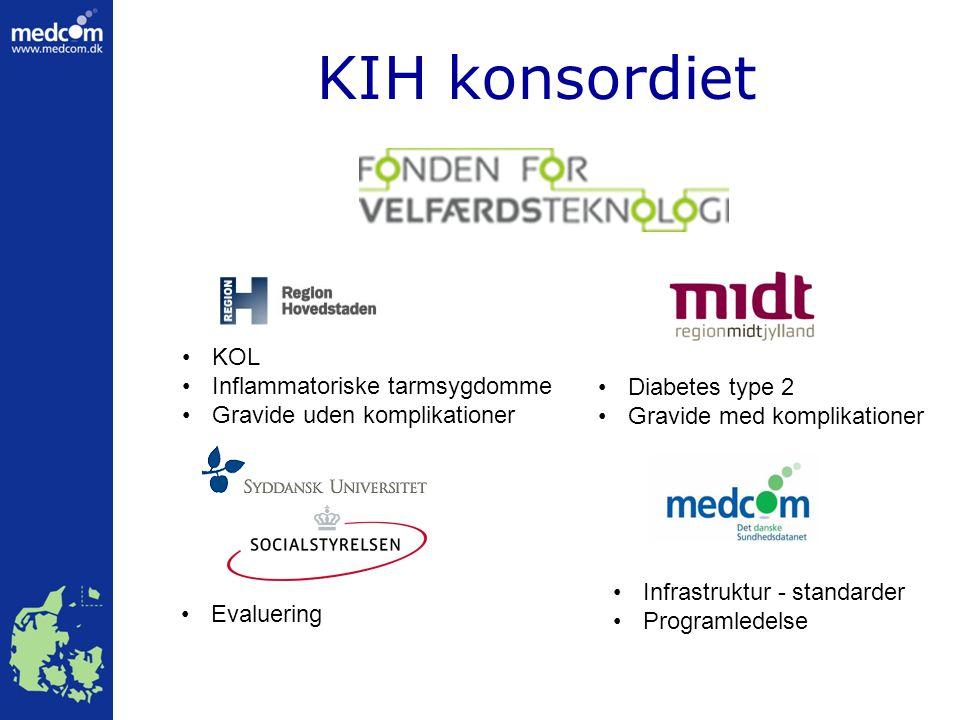 KIH konsordiet KOL Inflammatoriske tarmsygdomme Gravide uden komplikationer Evaluering Diabetes type 2 Gravide med komplikationer Infrastruktur - standarder Programledelse
