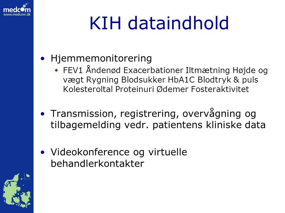 KIH dataindhold Hjemmemonitorering  FEV1 Åndenød Exacerbationer Iltmætning Højde og vægt Rygning Blodsukker HbA1C Blodtryk & puls Kolesteroltal Proteinuri Ødemer Fosteraktivitet Transmission, registrering, overvågning og tilbagemelding vedr.