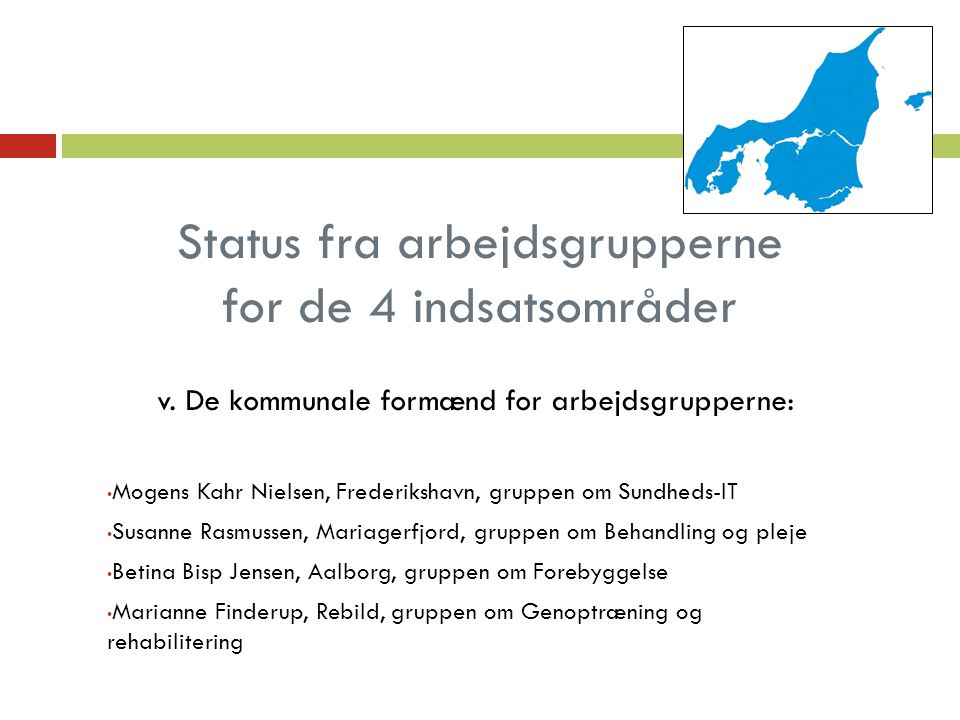 Status fra arbejdsgrupperne for de 4 indsatsområder v.