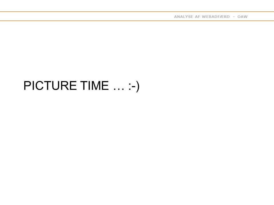 ANALYSE AF WEBADFÆRD - OAW PICTURE TIME … :-)