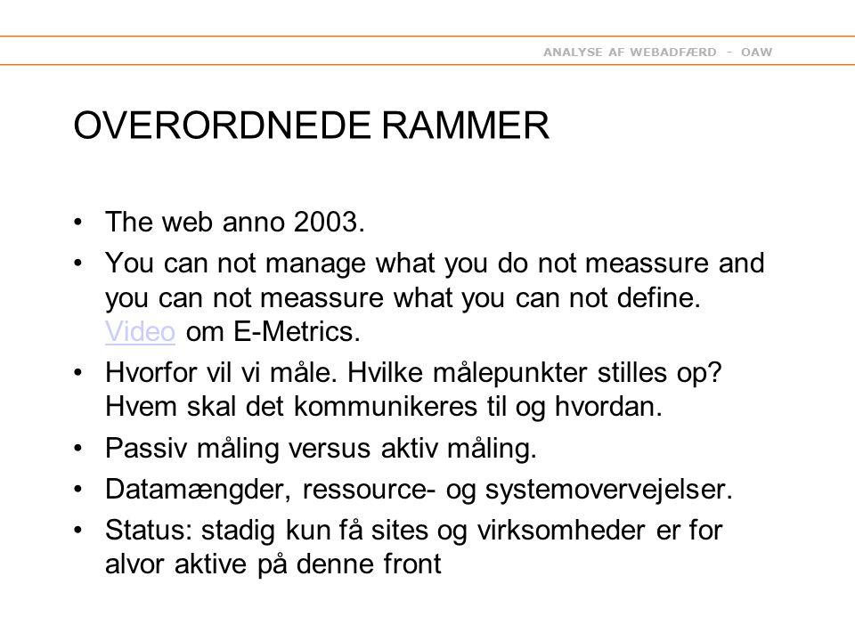 ANALYSE AF WEBADFÆRD - OAW OVERORDNEDE RAMMER The web anno 2003.