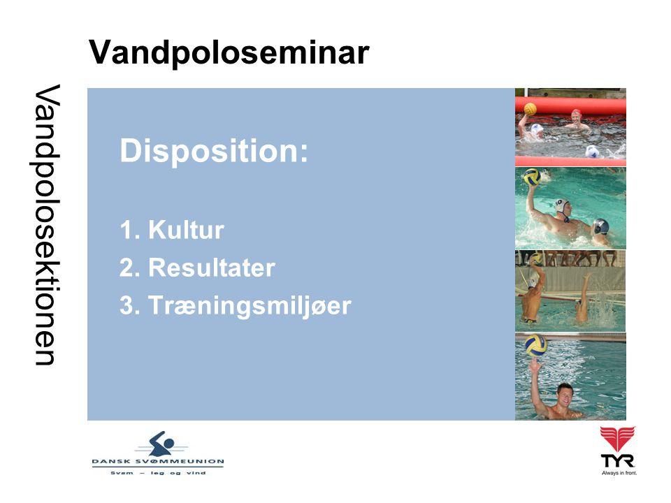 Vandpolosektionen Vandpoloseminar Disposition: 1. Kultur 2. Resultater 3. Træningsmiljøer
