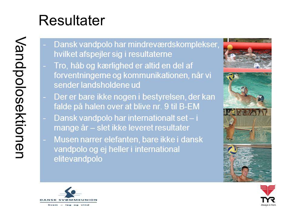 Vandpolosektionen Resultater -Dansk vandpolo har mindreværdskomplekser, hvilket afspejler sig i resultaterne -Tro, håb og kærlighed er altid en del af forventningerne og kommunikationen, når vi sender landsholdene ud -Der er bare ikke nogen i bestyrelsen, der kan falde på halen over at blive nr.