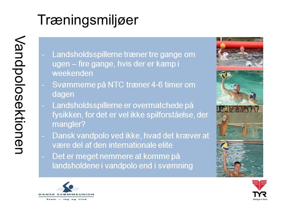Vandpolosektionen Træningsmiljøer -Landsholdsspillerne træner tre gange om ugen – fire gange, hvis der er kamp i weekenden -Svømmerne på NTC træner 4-6 timer om dagen -Landsholdsspillerne er overmatchede på fysikken, for det er vel ikke spilforståelse, der mangler.