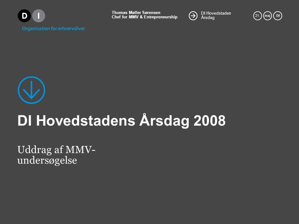 DI Hovedstaden Årsdag Thomas Møller Sørensen Chef for MMV & Entrepreneurship 21.maj 08 DI Hovedstadens Årsdag 2008 Uddrag af MMV- undersøgelse