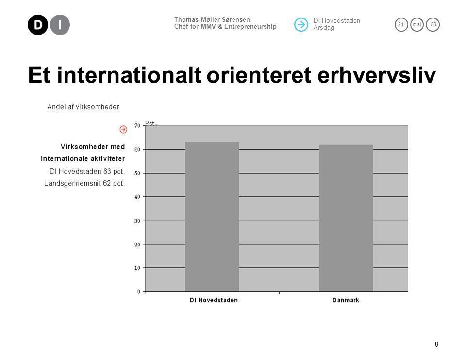 DI Hovedstaden Årsdag 21.maj 08 Thomas Møller Sørensen Chef for MMV & Entrepreneurship 8 Et internationalt orienteret erhvervsliv