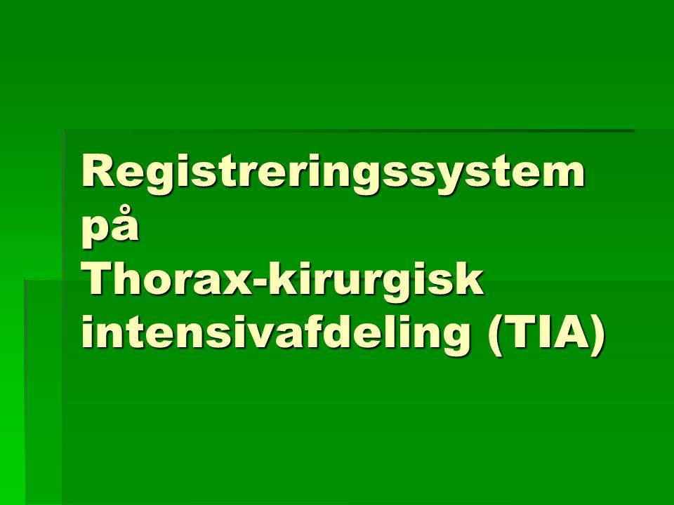 Registreringssystem på Thorax-kirurgisk intensivafdeling (TIA)