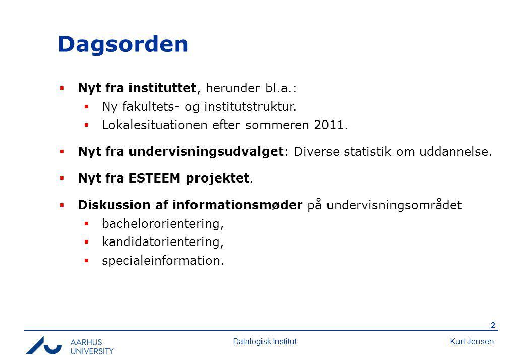 Kurt Jensen 2 Datalogisk Institut Dagsorden  Nyt fra instituttet, herunder bl.a.:  Ny fakultets- og institutstruktur.
