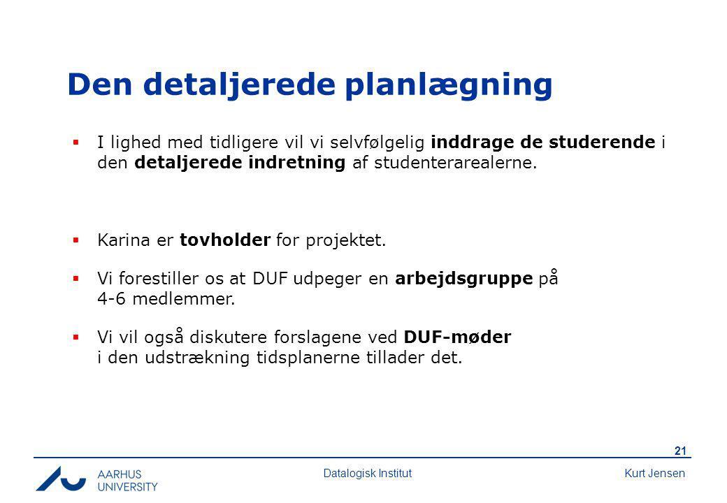 Kurt Jensen 21 Datalogisk Institut Den detaljerede planlægning  I lighed med tidligere vil vi selvfølgelig inddrage de studerende i den detaljerede indretning af studenterarealerne.