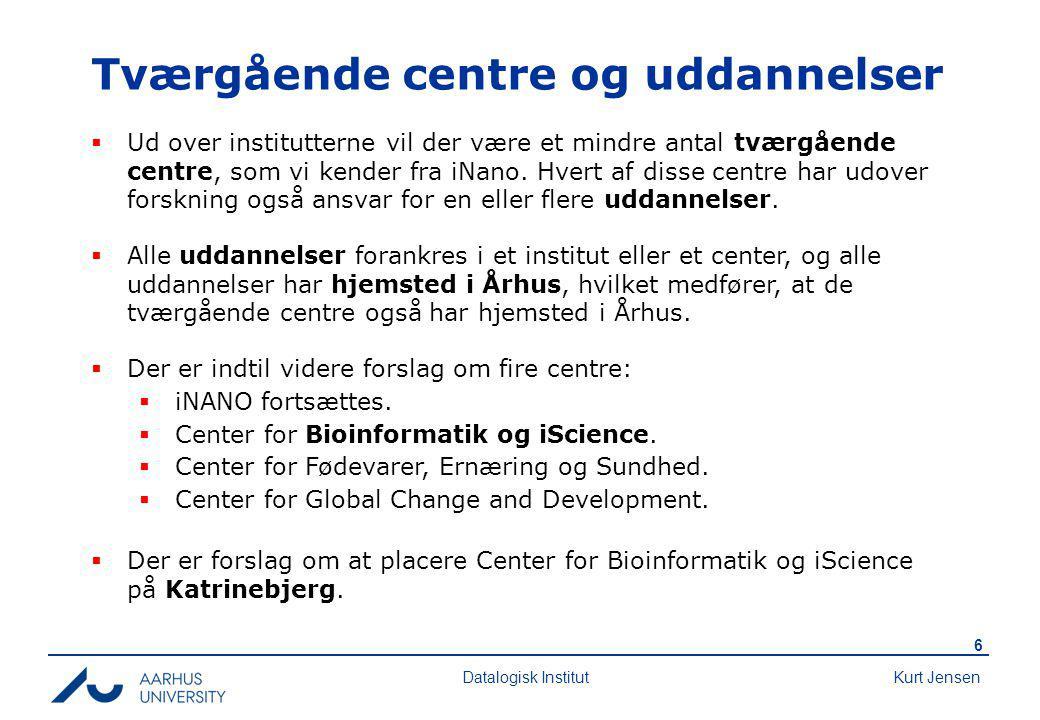Kurt Jensen 6 Datalogisk Institut Tværgående centre og uddannelser  Ud over institutterne vil der være et mindre antal tværgående centre, som vi kender fra iNano.
