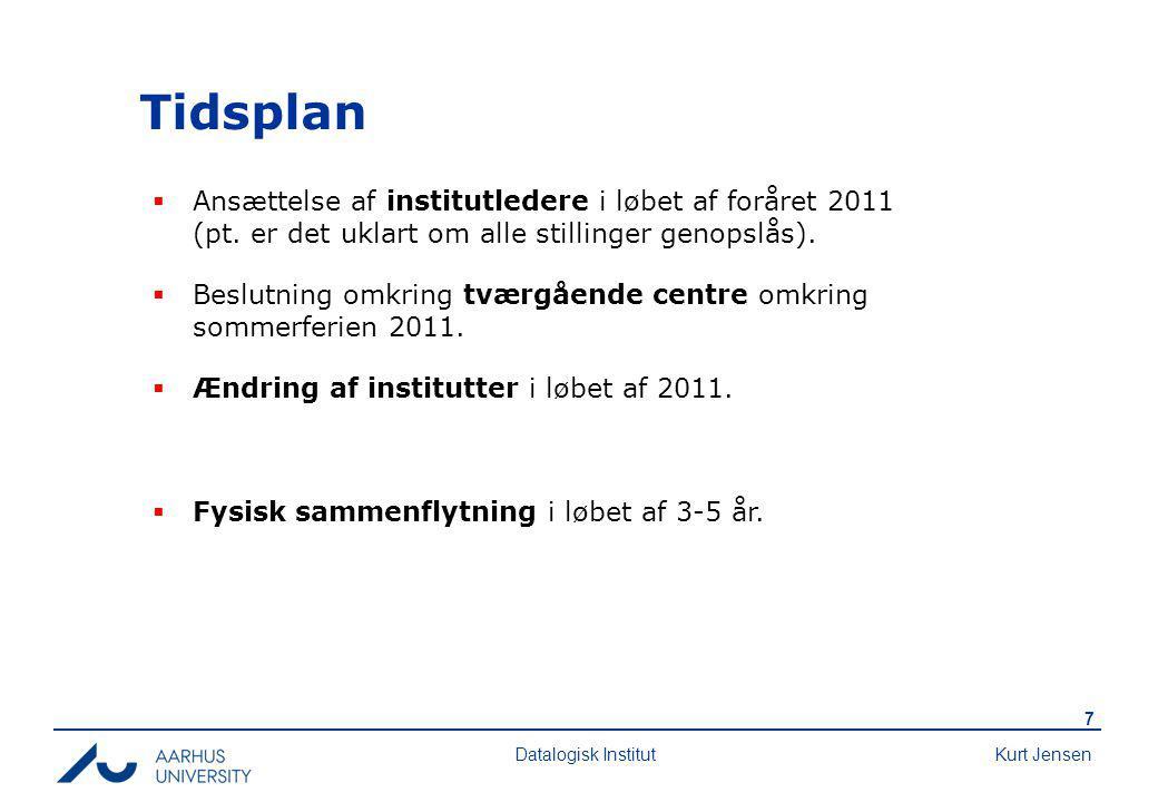 Kurt Jensen 7 Datalogisk Institut Tidsplan  Ansættelse af institutledere i løbet af foråret 2011 (pt.