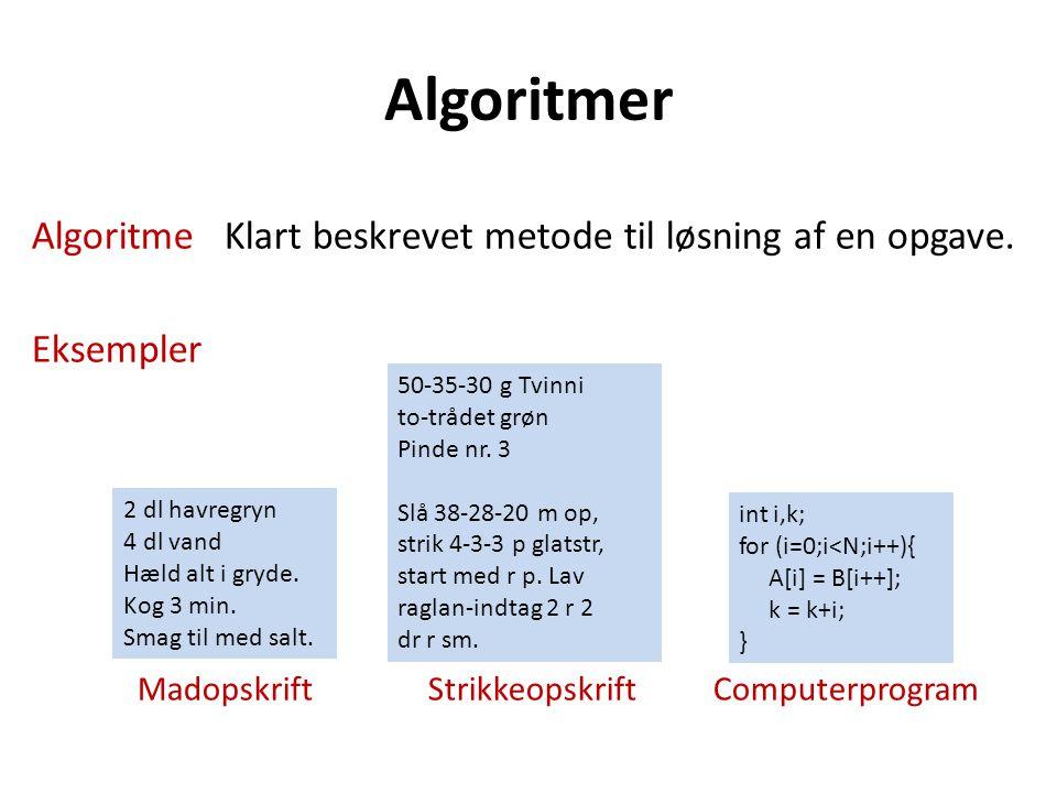 Algoritmer Algoritme Klart beskrevet metode til løsning af en opgave.